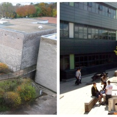 Before and After: Courtyard sitting walls and Cedar table