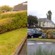 Before: Existing frontage limiting views of the Hospice and no immediate signage. After: Proposal includes a Feature illuminated Main Entrance sign visible from 150m down the approach road. Low level beds ensure colourful approach views. Bedrooms now benefit from the colourful planting Roads and car parking resurfaced with new demarkations